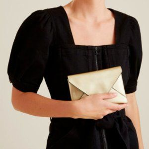 Seed Heritage Gold Envelope Pouch Bag Clutch Vegan